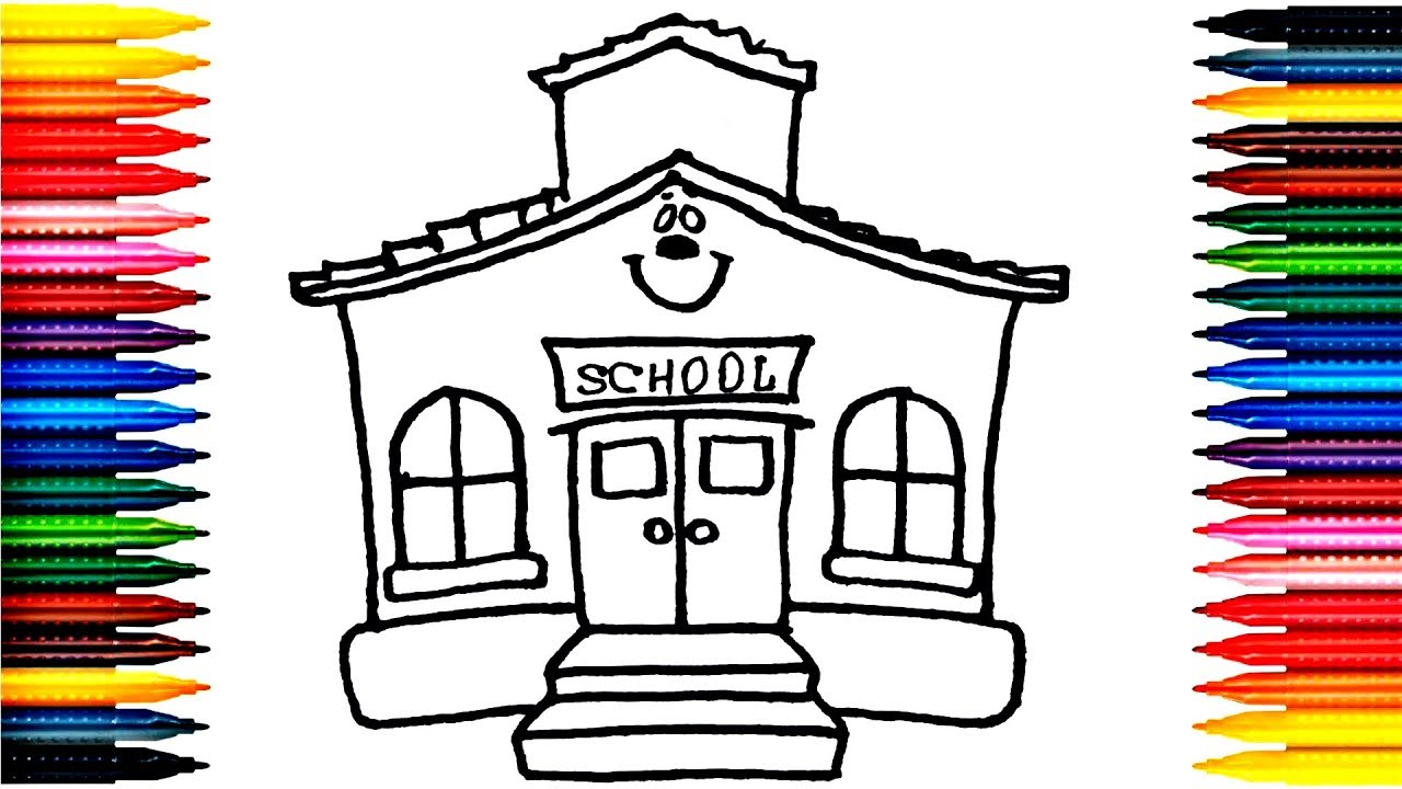 1280x720 Drawing School Learn How To Draw School Colors Picture Coloring