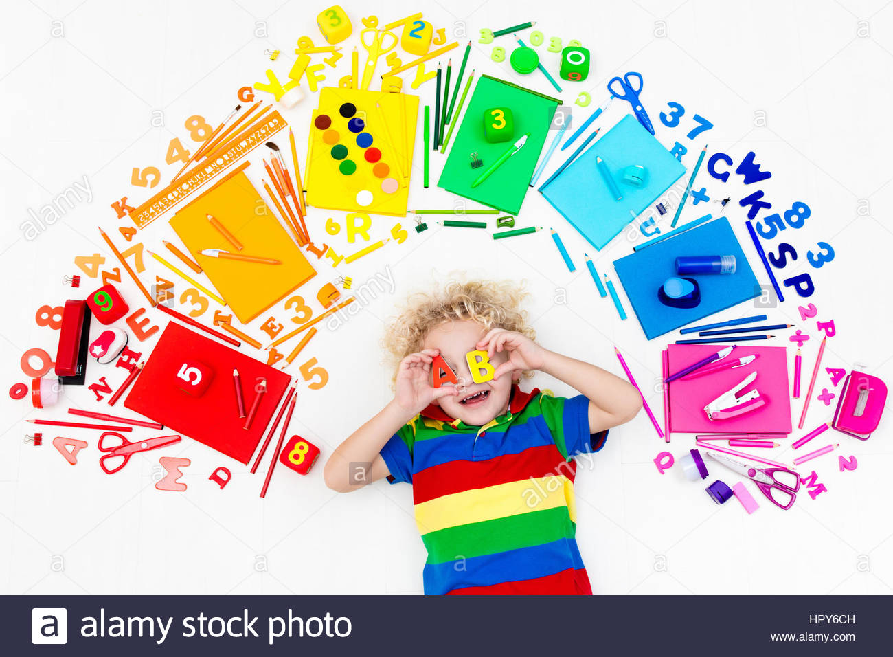 1300x956 Little Boy With School Supplies, Books, Drawing And Painting Tools