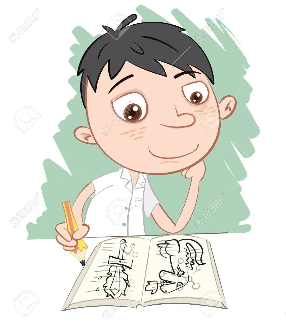 1137x1300 Cartoon Schoolboy Drawing Over On Textbook. Royalty Free Cliparts