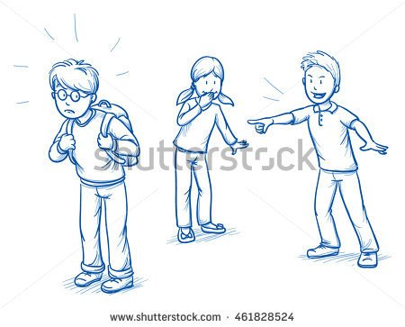 450x363 Group Of Three Children With School Boy Being Bullied. Hand Drawn