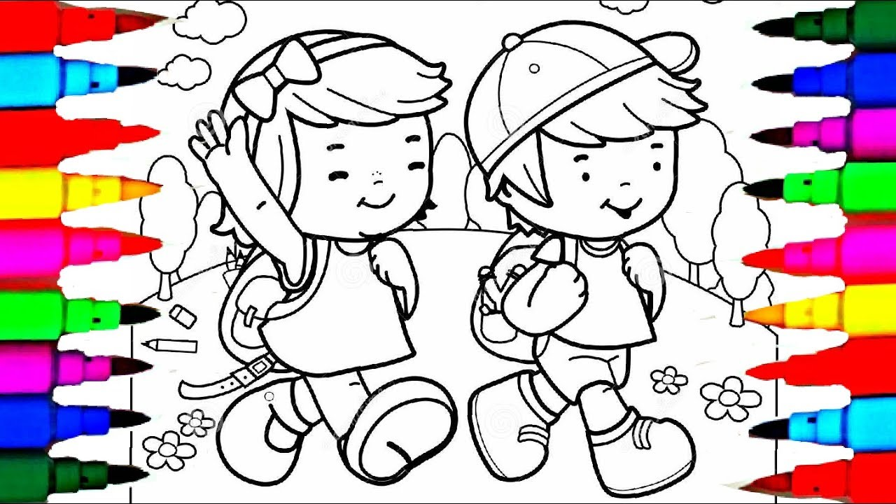 1280x720 Learn Colors By Drawing Pages Little School Boy And Girl Coloring