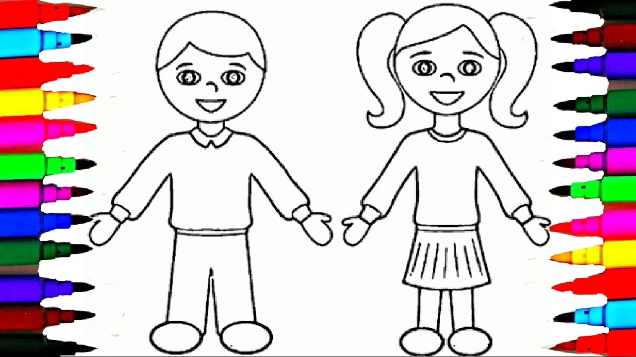 1280x720 School Girl And Boy Coloring Pages L Kids Drawing Coloring Videos