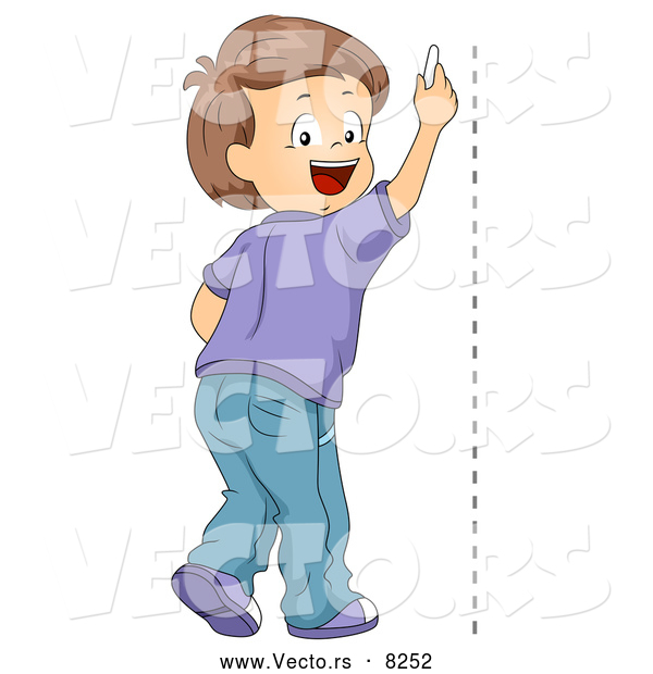 600x620 Vector Of A Happy School Boy Drawing A Vertical Line On A Wall By
