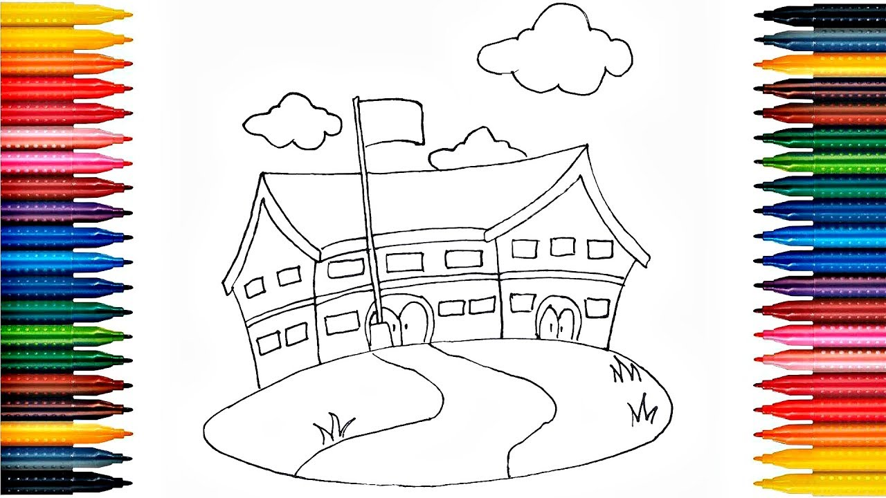 1280x720 How To Draw School Building Drawing School Building And Painting