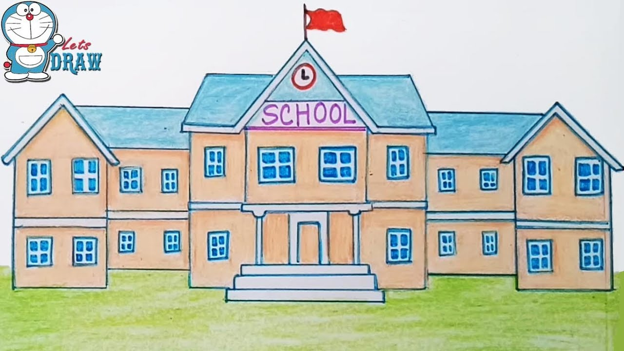 School Building Drawing at GetDrawings | Free download