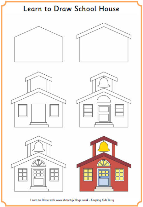 460x665 Learn To Draw A School House! Printables