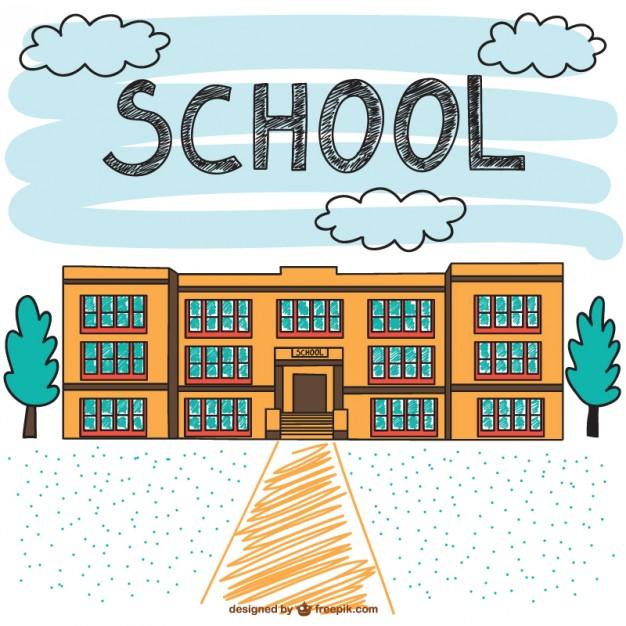 626x626 School Building Hand Drawn Scene Vector Free Download