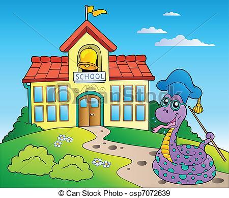 450x388 Snake Teacher With School Building