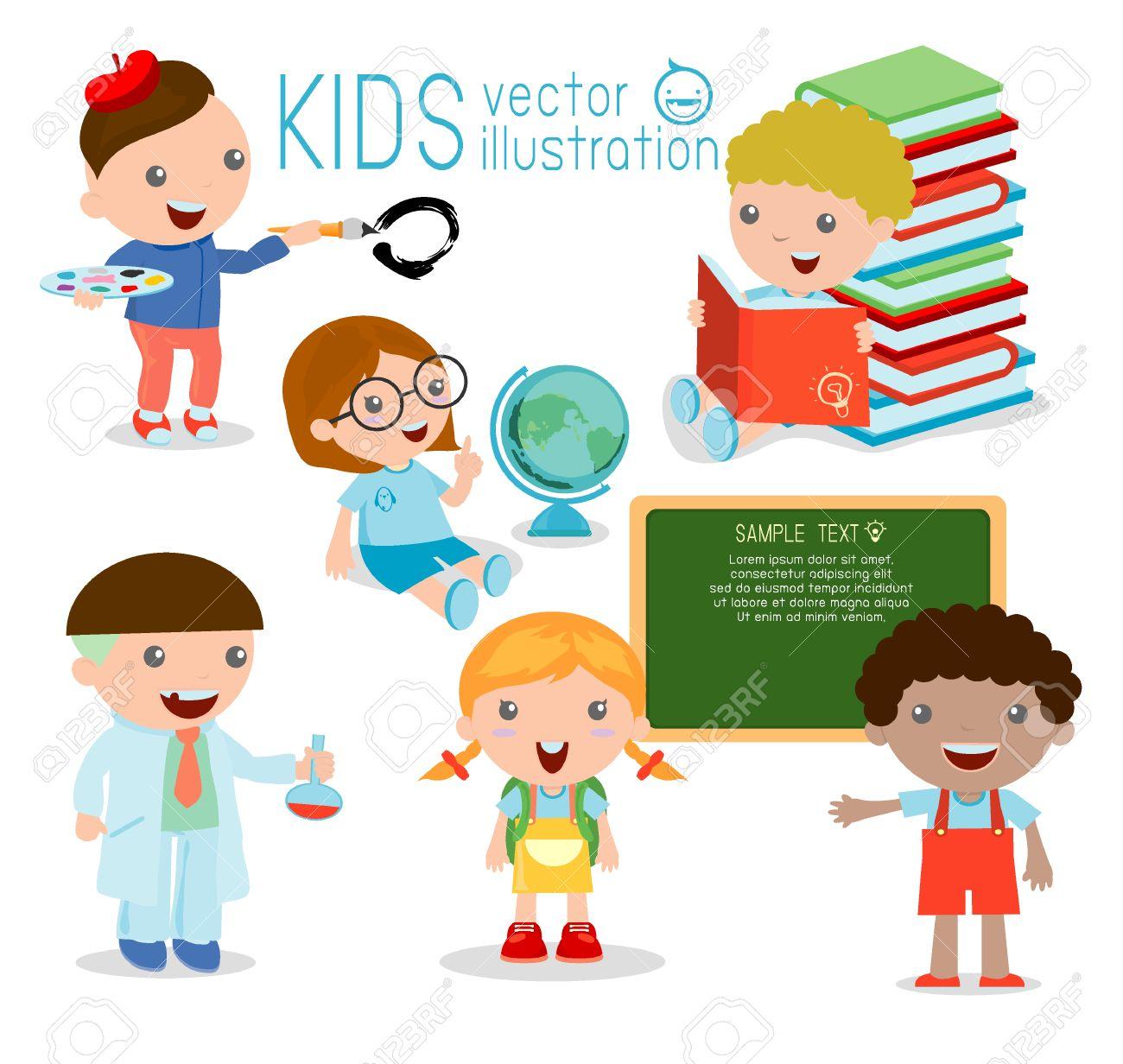 1300x1232 Back To School. Happy Cartoon Kids In Classroom, Biology, Botany