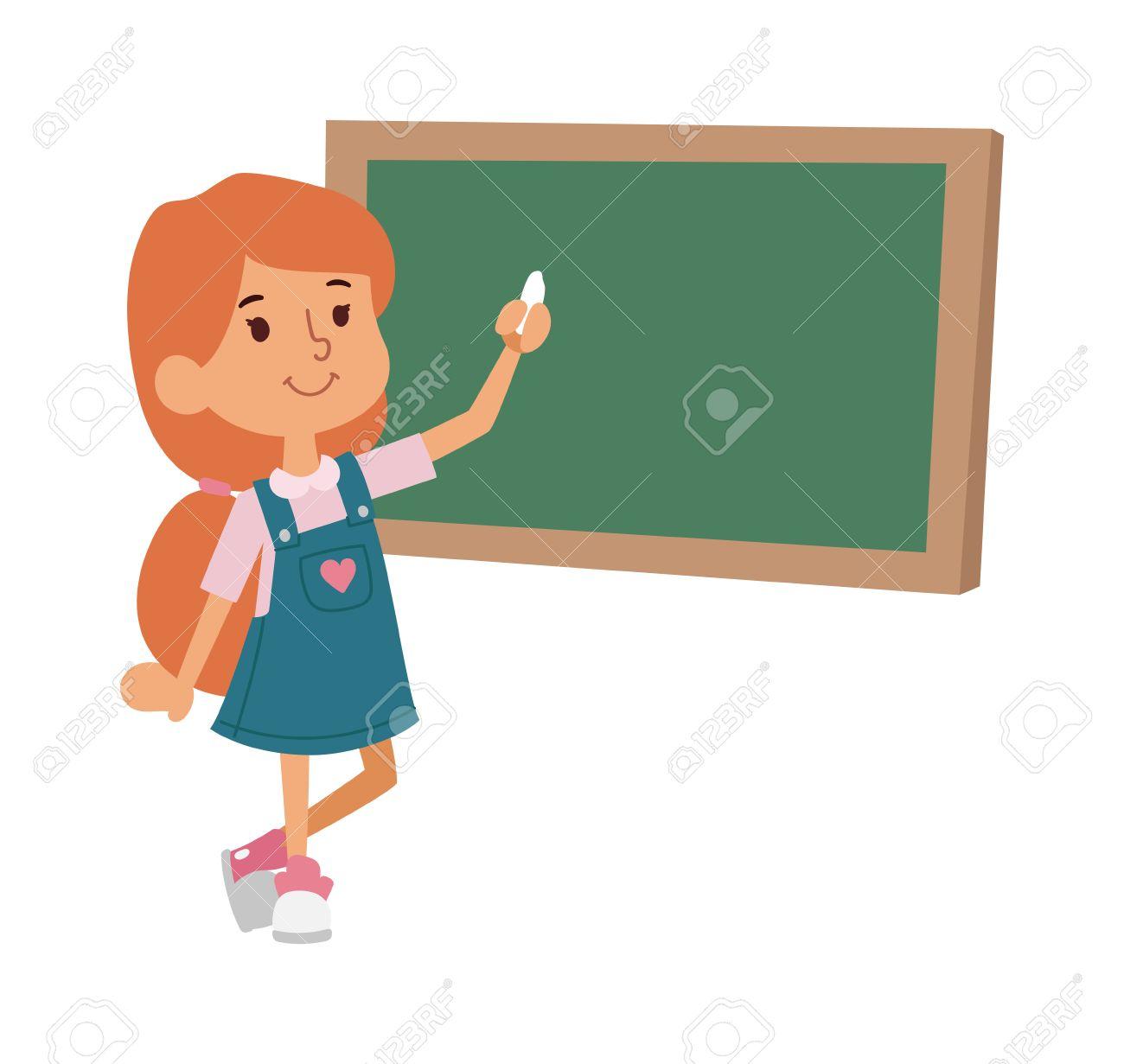 1300x1231 Cute Little Girl Drawing On Blackboard Vector Illustration