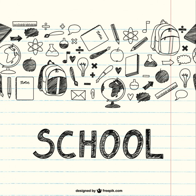 626x626 Drawing School Items On A Notebook Vector Free Download