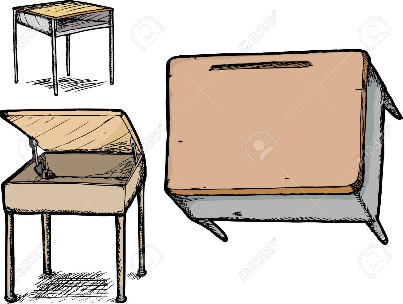 1300x980 Three Different School Desk Hand Drawings Over White Royalty Free