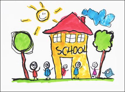 426x312 How To Draw A Cartoon School. School Drawing. Awesome School