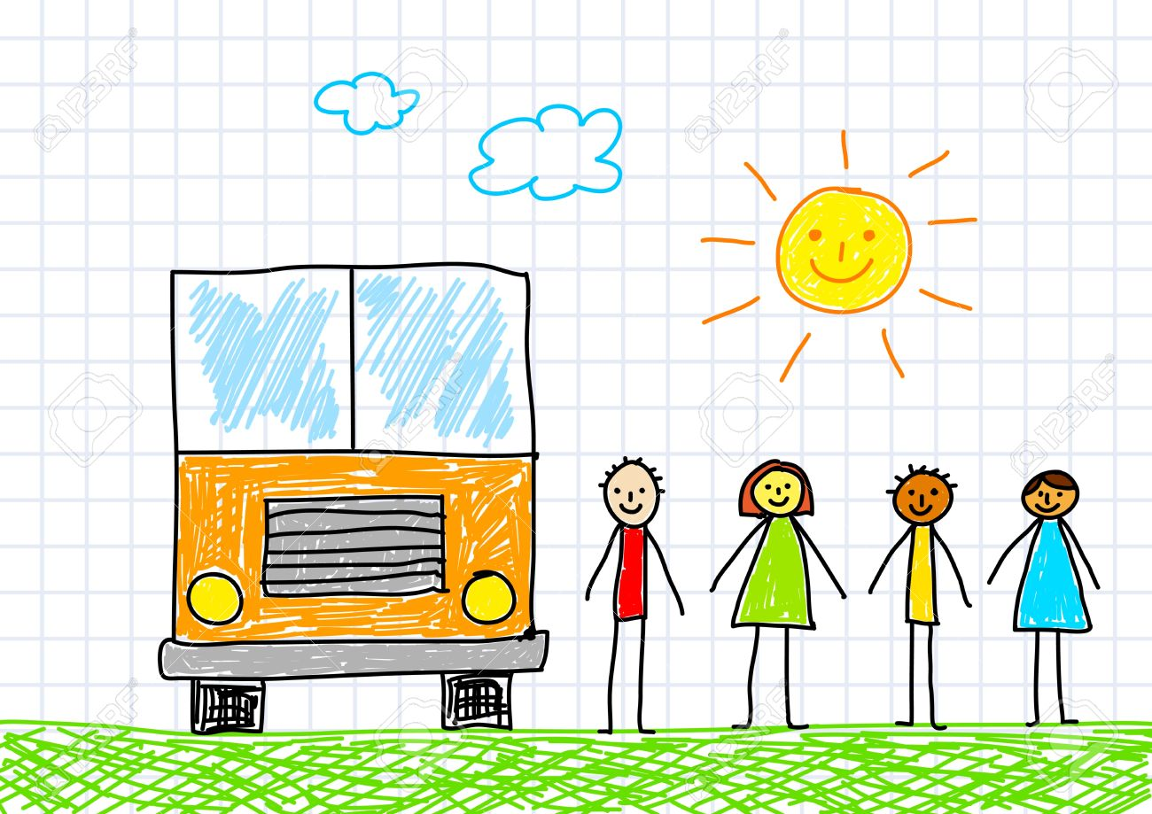 1300x919 Drawing Of School Bus Royalty Free Cliparts, Vectors, And Stock