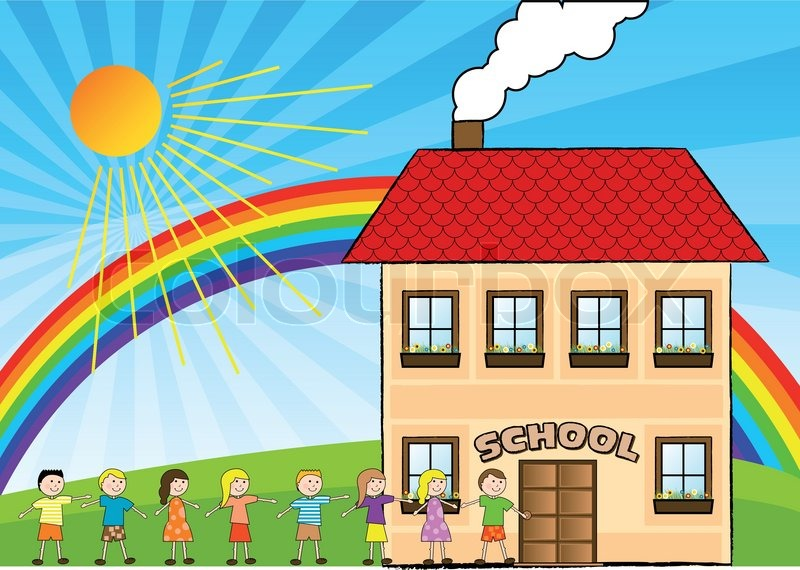 800x570 Children Are Going To The School Stock Vector Colourbox