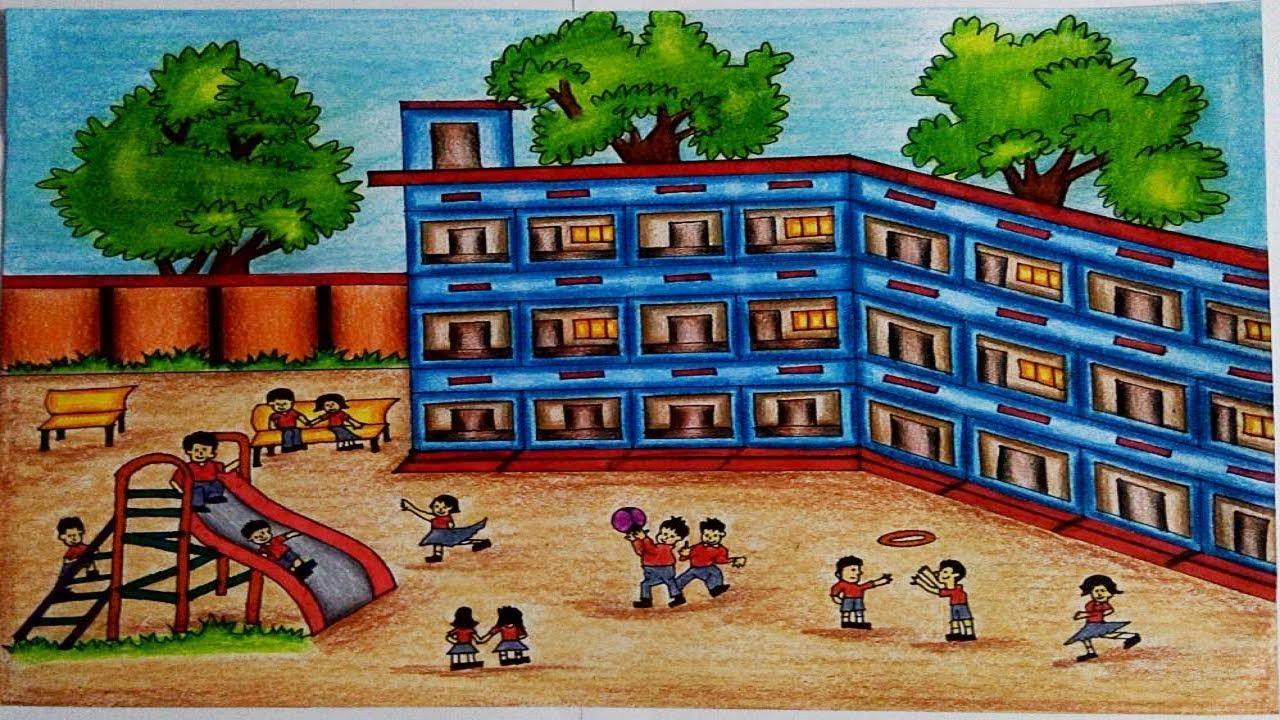 1280x720 How To Draw A School Scene Step By Step (Very Easy) School