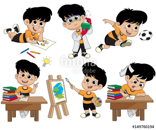 500x417 Back To School.a Cute Kid Drawing A Picture,doing Experiments