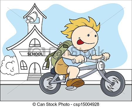 450x366 Happy Kid Riding Bicycle Vector. Drawing Art Of Cute Happy