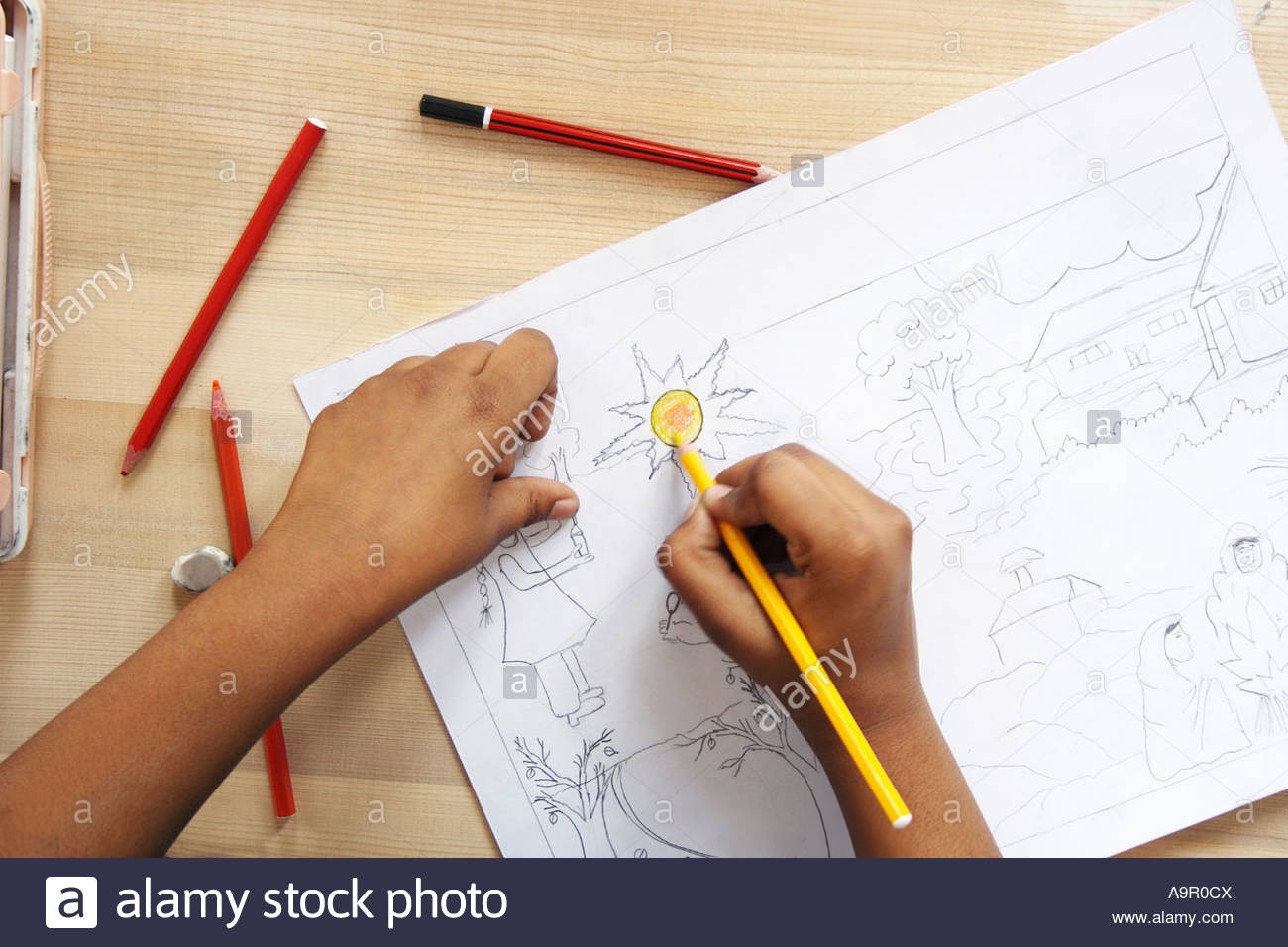 1300x956 School Kid Drawing On A Chart Stock Photo 12421849