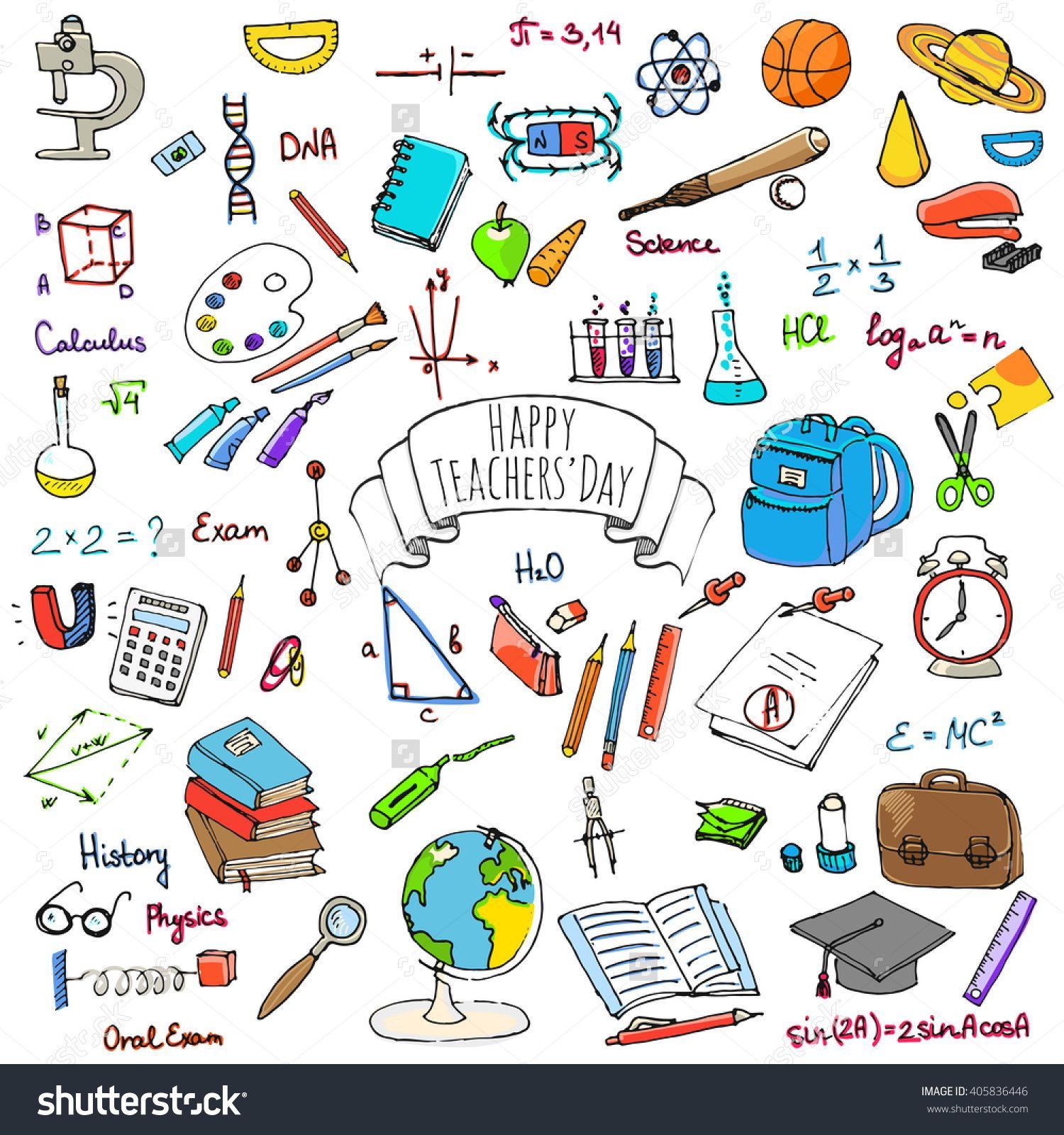 1500x1600 Happy Teachers Day Freehand Drawing School Items Back To School