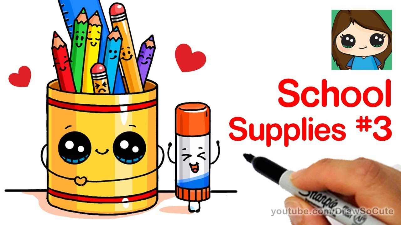 1280x720 How To Draw Cute Back To School Supplies Easy