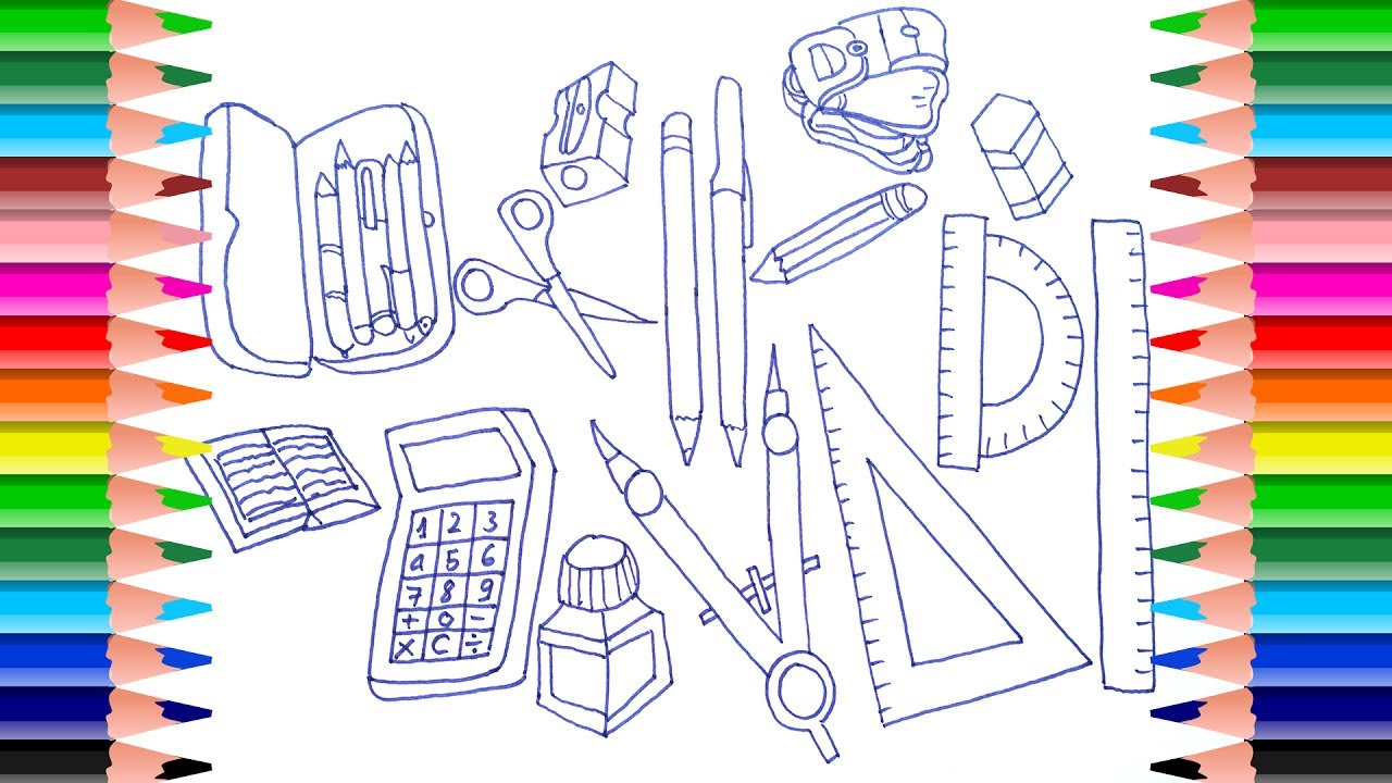 1280x720 How To Draw School Supplies For Kids Coloring Pages Learning