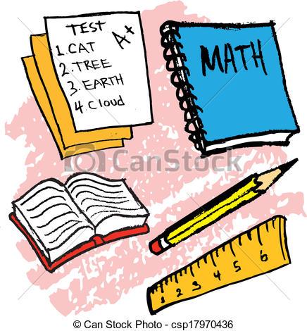 436x470 Kids Drawing Of School Supplies Vectors