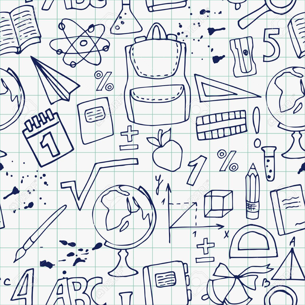 1300x1300 Seamless Pattern Hand Drawing Of School Supplies On A Notebook