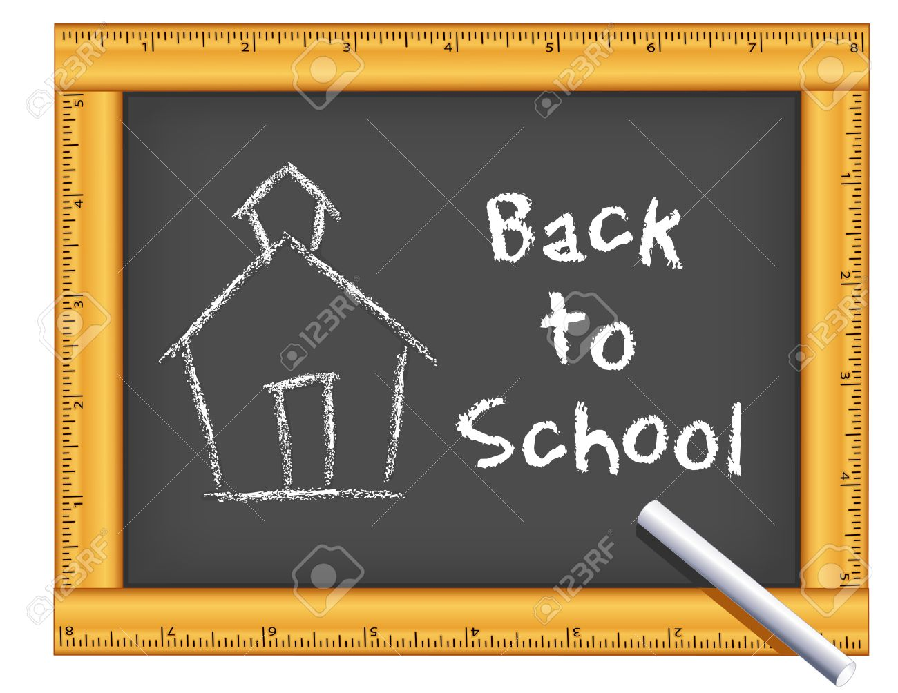 1300x1004 Chalkboard With Wood Ruler Frame, Schoolhouse Drawing, Back