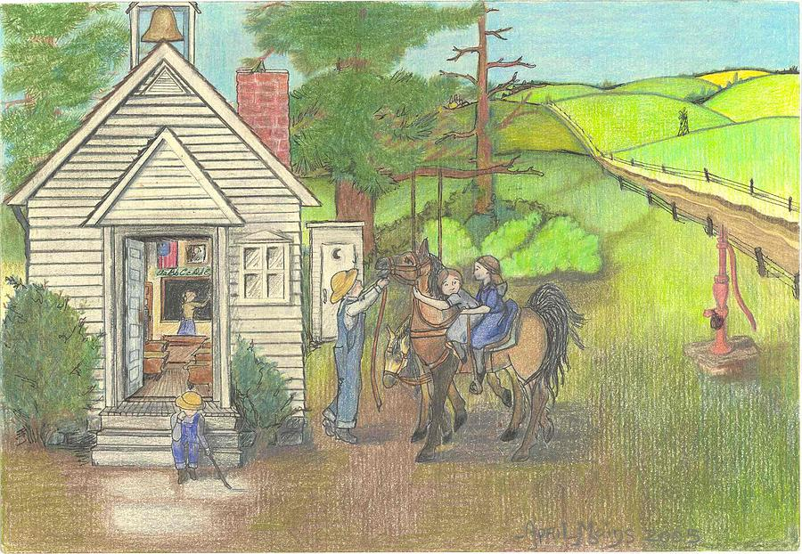 900x622 Countryside Schoolhouse Drawing By April Mains
