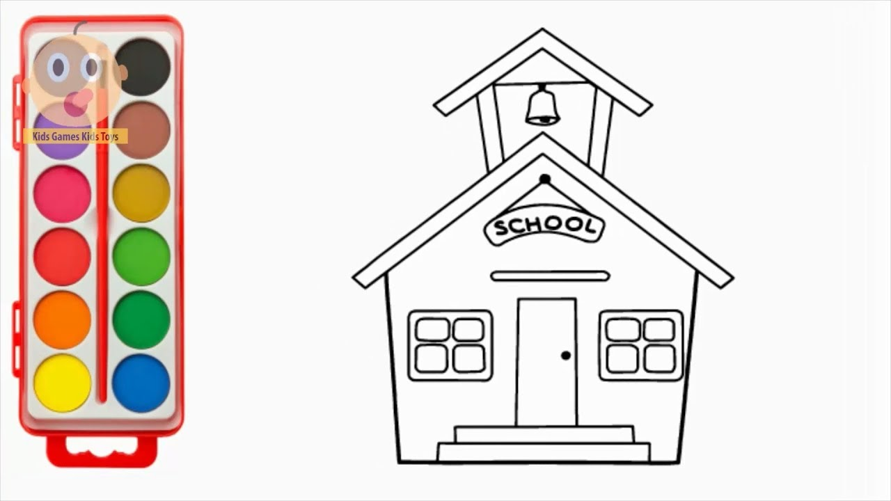 1280x720 How To Draw Schoolhouse Learning Color With Coloring Pages