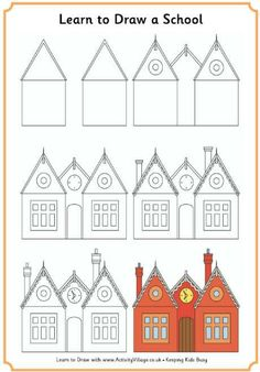 236x338 Learn To Draw A School House! Printables