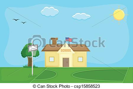450x300 School House Vector Background. Drawing Art Of School House