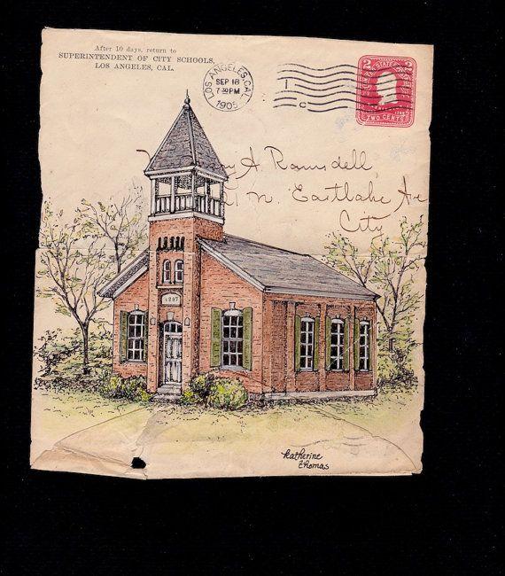 570x650 Schoolhouse Drawing On Antique Envelope Art Architecture