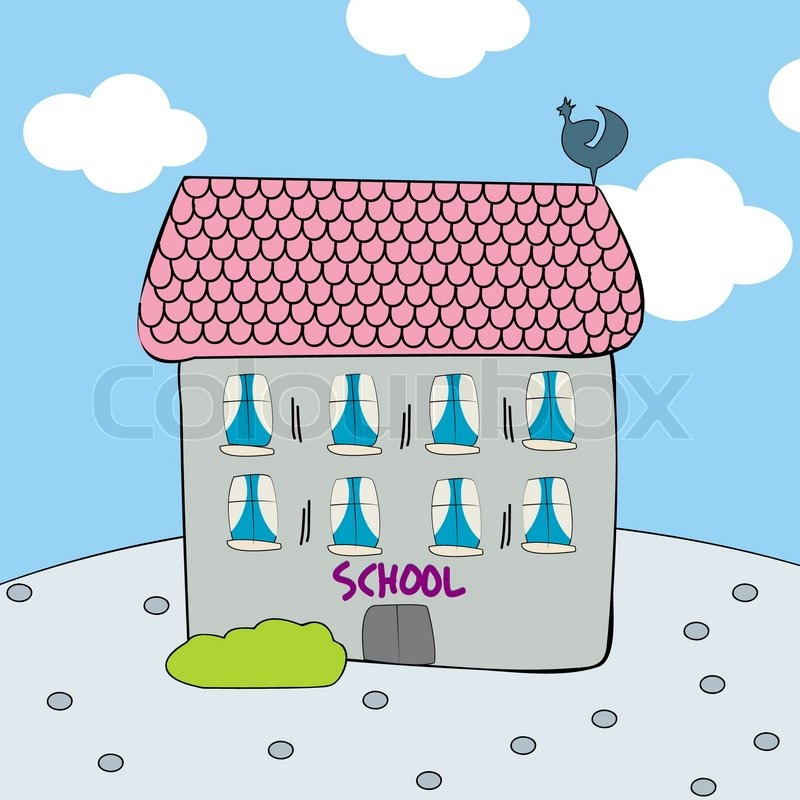 800x800 Childlike Drawing Of A Schools In Pastel Tones Stock Vector