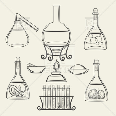 400x400 Hand Drawn Chemistry And Biology Vintage Science Lab Equipment