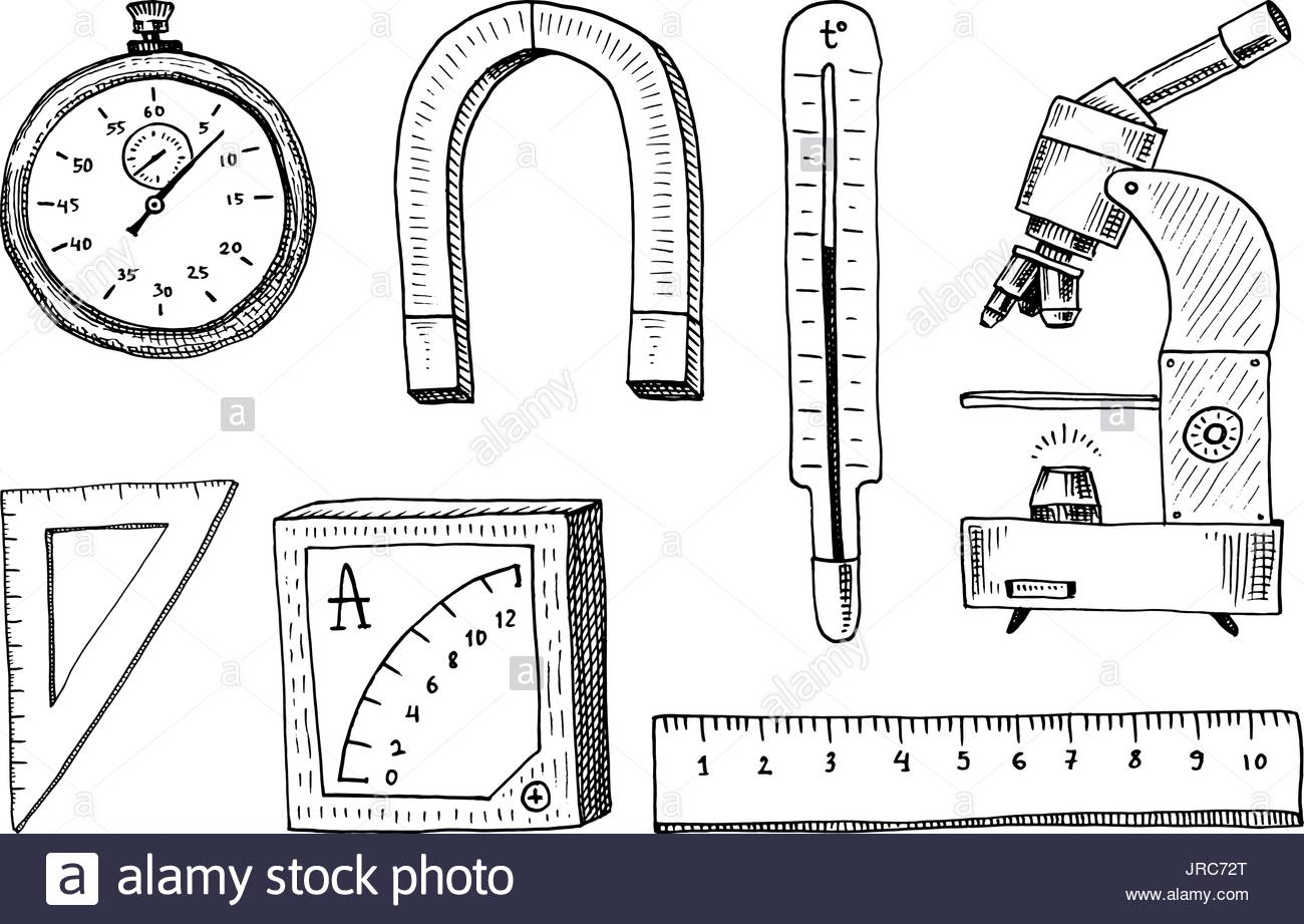 1300x921 Compass And Magnet, Alpelmet With Thermometer And Microscope Stock