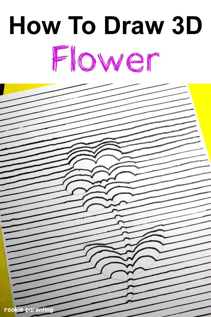 735x1105 How To Draw A 3 Dimension (3d) Flower 3d, Flower And Activities