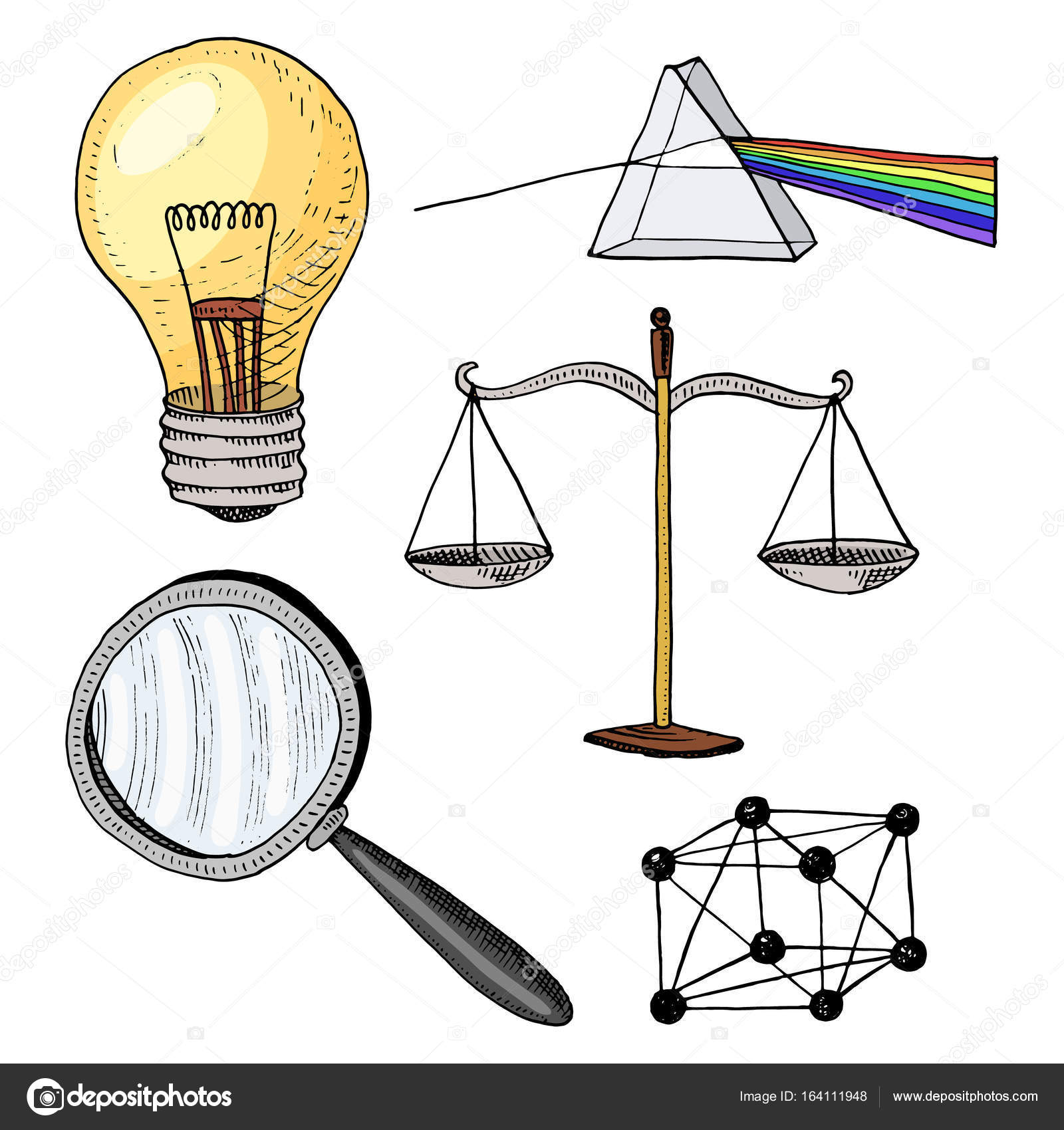 1600x1700 Lightbulb And Prism, Crystal Lattice And Scale With Magnifying