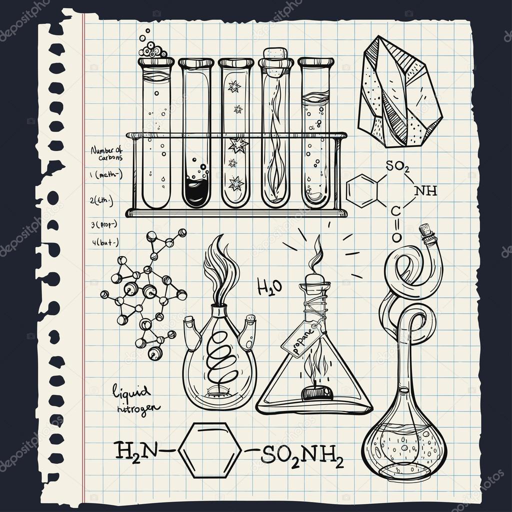 1024x1024 Hand Drawn Science Lab Icons Sketch Set Stock Vector Katja87