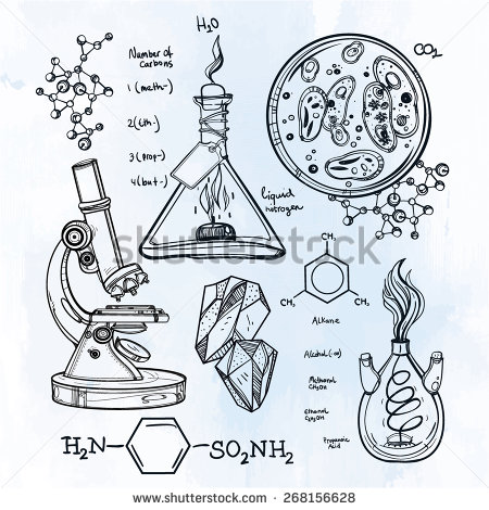 450x470 Hand Drawn Science Vintage Laboratory Icons Sketch. Vector