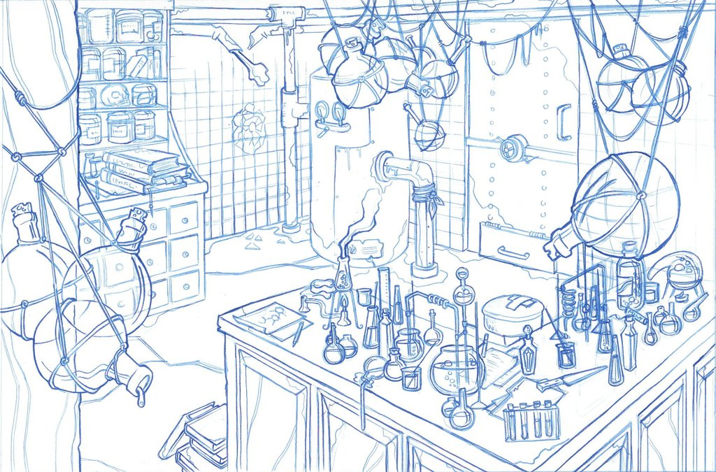 1024x675 Mad Scientists Lab Two Point Perspective Drawing