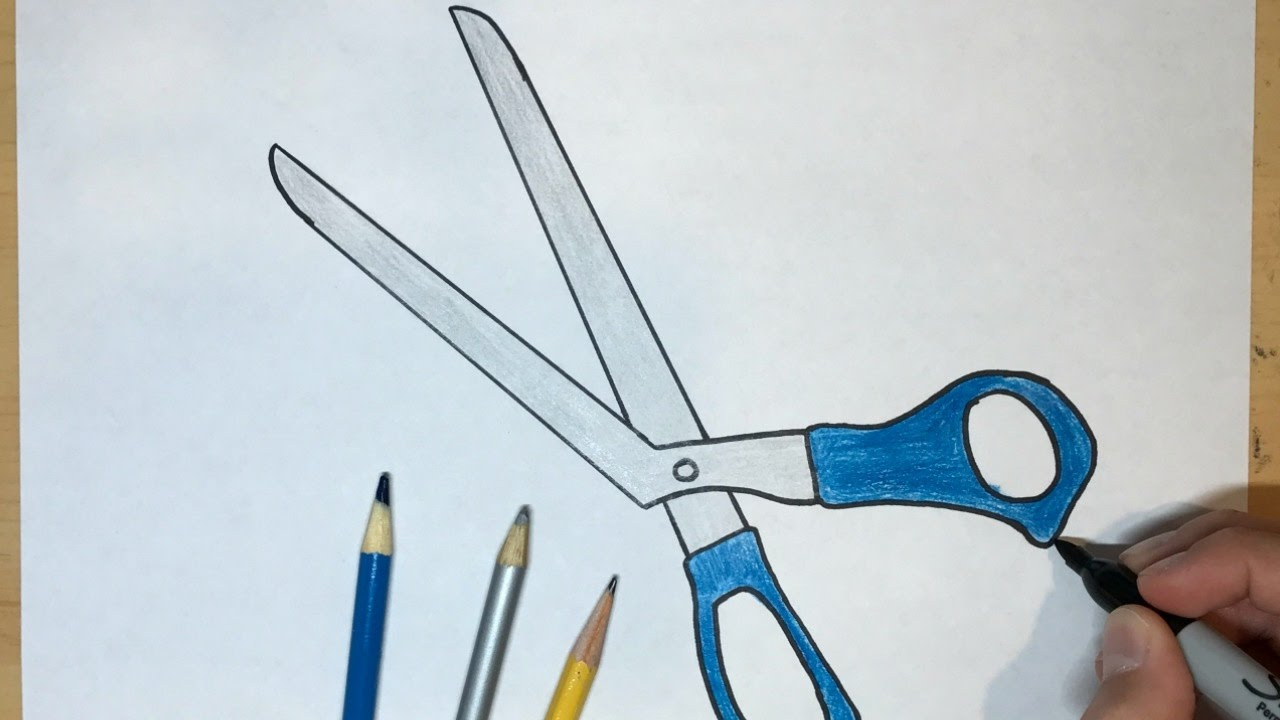 1280x720 How To Draw Scissors Simple Drawing Tutorial