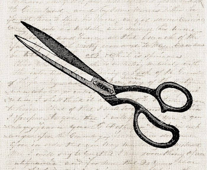 700x576 Vintage Sewing Scissors Digital Download Clipart Ornate