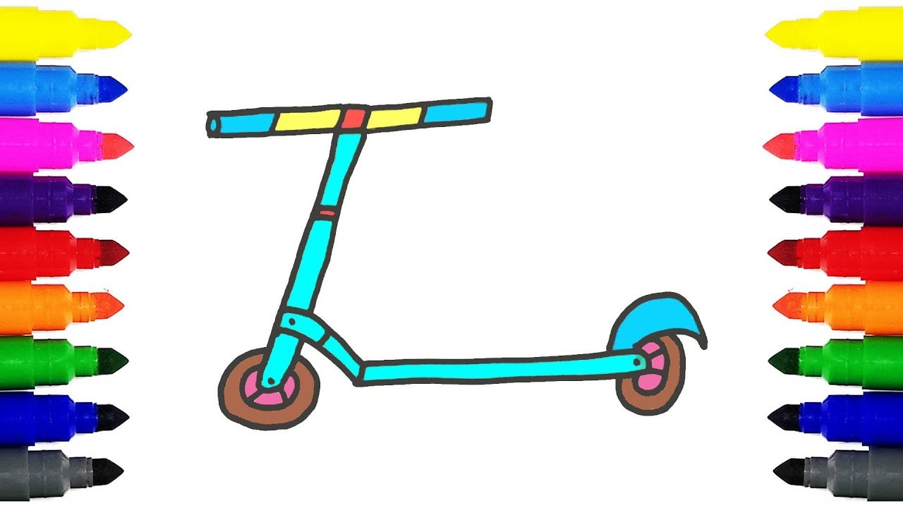 1280x720 How To Draw Kick Scooter For Kids Drawing And Coloring Kick
