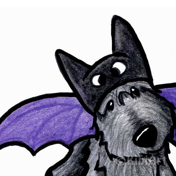 570x570 Batdog Scottie Dog Art Original Drawing Aceo Halloween By Kiniart
