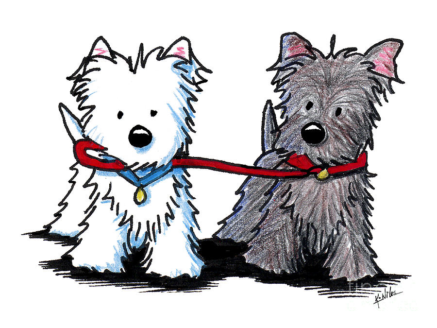 900x675 Terrier Walking Buddies Drawing By Kim Niles