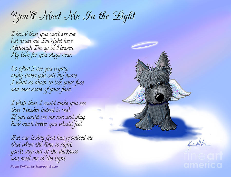 900x691 Scottie Terrier Angel And Poem Drawing By Kim Niles