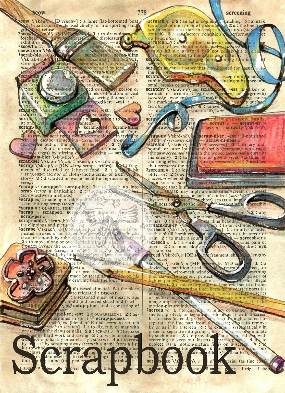 1163x1600 Scrapbook Mixed Media Drawing On Distressed, Dictionary Page