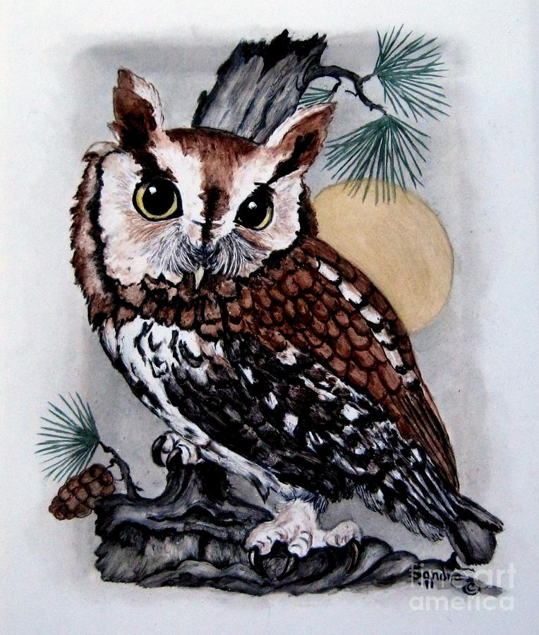 764x900 Eastern Screech Owl Painting By Sandra Maddox